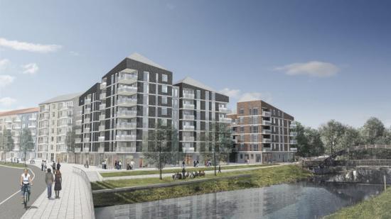 HSB planerar att bygga exklusiva bostadsrätter i Luthagen Strand, strax intill åkanten vid Fyrisån.