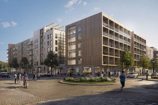 Visionsbild över K2A:s studentbostäder i trä och Credentias bostadsrätter i kommande kvarter nära tunnelbanan i Barkarbystaden.
