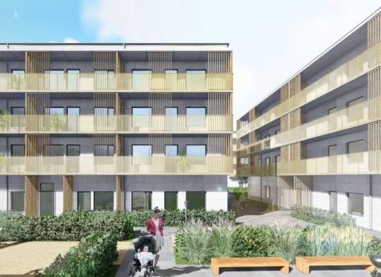 Nybyggnation av flerbostadshus i Ryd i Linköping.
