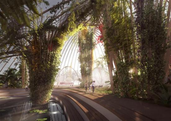 S:t Eriks inomhuspark är ett konkret förslag på hur Utopia Arkitekter vill skapa en icke-kommersiell publik miljö i Stockholm. Projektet är tänkt att vara startskottet på en bredare diskussion om hur vi kan och bör hantera våra befintliga och inte minst framtida publika miljöer (bilden är en illustration).
