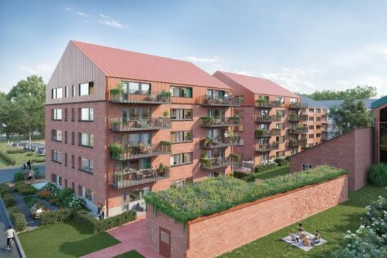 Serneke är först ut att bygga nytt i Sege Park i Malmö. 44 lägenheter med inflyttning hösten/vintern 2022 (bilden är en illustration).