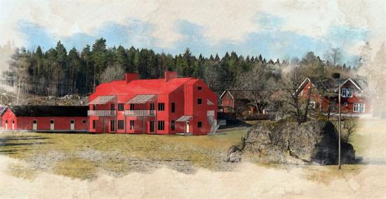 Skiss över bostäderna ska byggas på gården Ottebro i Näshulta söder om Eskilstuna.