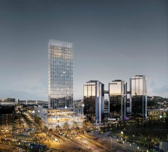 Det vinnande bidraget i gestaltningstävlingen för projektet +One har en tredelad komposition med en inbjudande terrass, ett torn som samspelar med staden och en karaktäristisk toppkrona som utmärker sig.