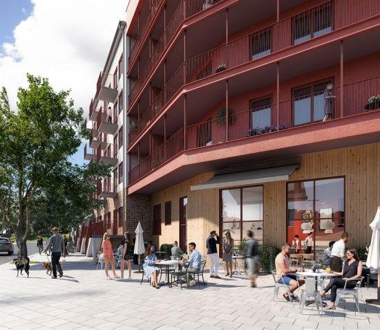 I den nya stadsdelen Nya Hovås i Göteborg ska 180 hyresbostäderbyggas(bilden är en illustration).