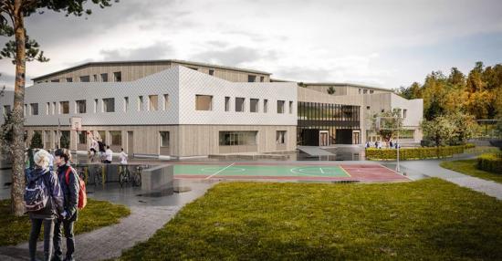 Hallerna skola i Stenungsund kommer rymma 540 elever(bilden är en illustration).