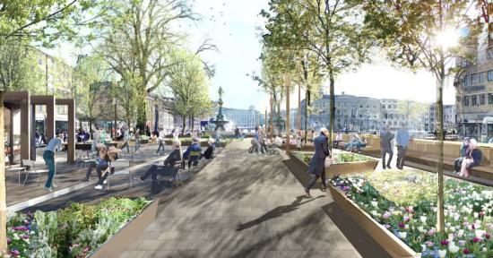 Gestaltningsförslag på hur Brunnsparken kommer att se ut när Svevias arbete är utfört.