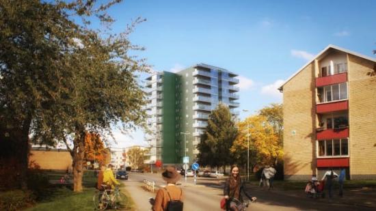 Det nya huset på Grubbagården i Havstena. Bilden är ett fotomontage och detaljer kan komma att ändras.