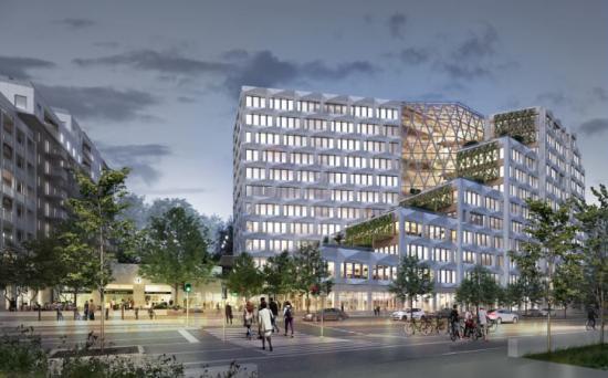 BSK Arkitekter utformar den nya stadsdelen som byggs i anslutning till den nya tunnelbanestationen Södra Hagalund i Solna (bilden är en illustration).