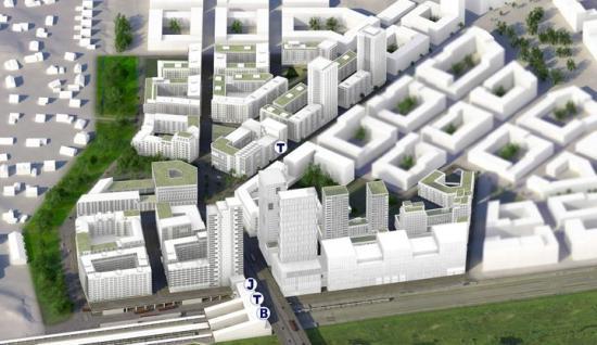 Visionsbild över hur industriområdet i Veddesta kan komma att utvecklas till stadsmiljö med kontorsläge, hotell, kommersiella lokaler, skidspår inomhus och bostäder - granne med Stockholms nya kollektivtrafiknod med tunnelbana, pendeltåg, buss och regionaltåg (bilden är en illustration).