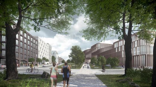 Ny bebyggelse och passagen över järnvägen sedd från Oskarsrogatan.