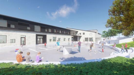 Laröd skola - perspektiv norra skolgården.
