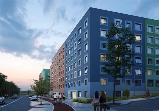 Visionsbild över bostäderna i Vårbergstoppen (bilden är en illustration).