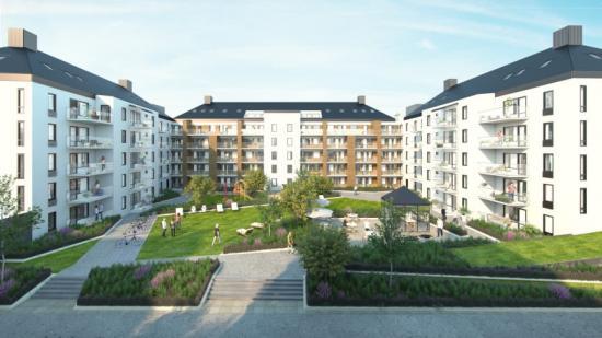 Kvarteret Startbanan, nybyggda prissänkta bostäder i Södra Ladugårdsängen (bilden är en illustration).