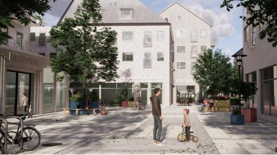 Lödde centrum ska omformas till en traditionell stadsmiljö med bostadsbebyggelse i tre till fem våningar med handel och service i kvarterens bottenvåningar. Nya gågator och ett mindre torg föreslås som kopplar samman Centrumvägen i norr med Barsebäck.