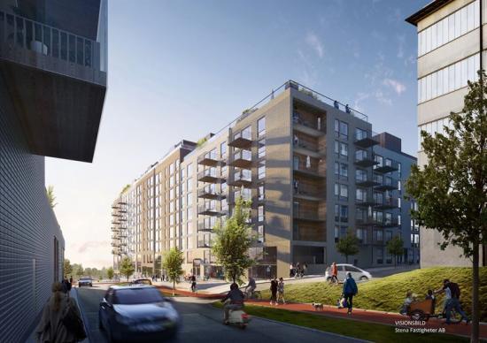 Visionsbild över det nya flerbostadshuset som ska byggasi Ekebäckshöjd, Göteborg.