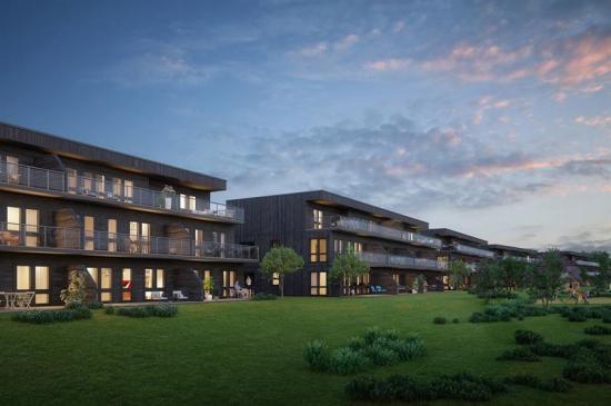 Visionsbild över de nya bostäderna (bilden är en illustration).