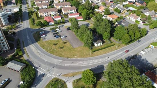 Foto över hur området kring Sjögräsgatan i Lomma ser ut idag.