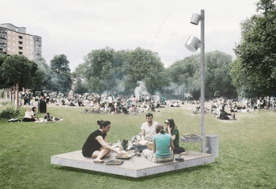 Vinnare i arkitekttävlingen: Tävlingsförslag FILT av Karl Zetterholm, Linnéa Holmberg och Maria Torrent på Blank Arkitekter.