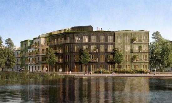Visionsbild över fastigheten som ska byggas på Väsjö Torg i Sollentuna (bilden är en illustration).