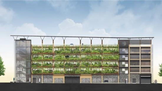 Parkeringshuset i Sege Park, Malmö kommer att innehålla ett unikt system för återvinning av regn- och dagvatten (bilden är en illustration).