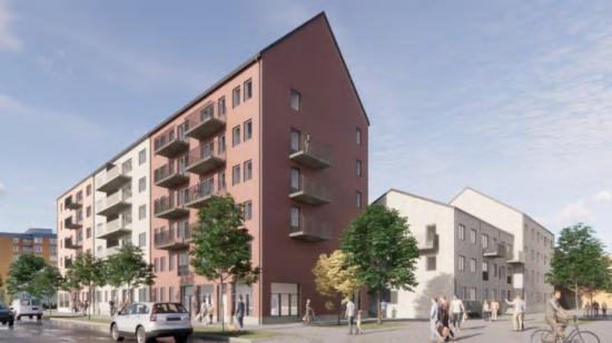 Visionsbild över kvarteret Caramel, som ska byggas i Gävle (bilden är en illustration).