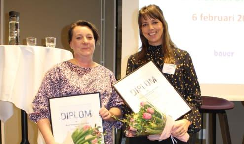Anna Lackman från Stockholmshem (Årets fastighetsförvaltare Bostad) och Annika Rissler från Newsec (Årets Fastighetsförvaltare Kommersiellt).