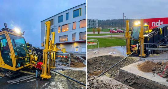 Arbetet med att sammankoppla Änglandaskolan och Navets skola med en likströmskabel pågår för fullt.