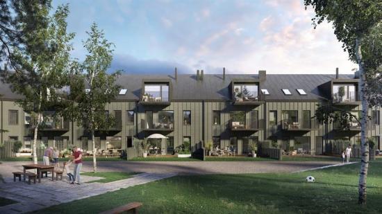 Visionsbild över Bromma Trädgårdsstad som ska vara färdigbyggd till sommaren 2022 (bilden är en illustraton).
