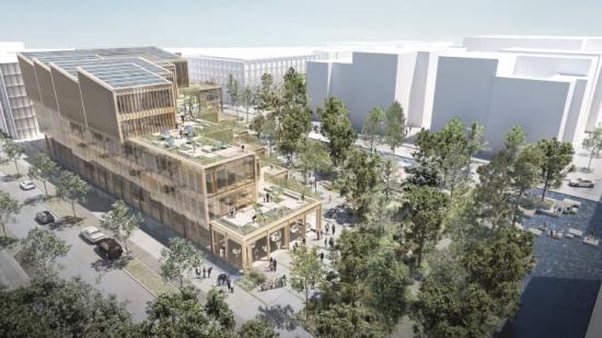 Nytt Science Center i Lund och Science Village. Exteriörvy från Pikogatan av tävlingsförslaget VetenskapsLUNDen.