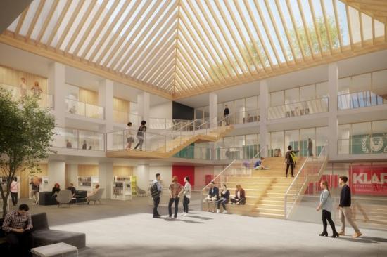 Campus Vasastan kommer att ha en stor ljusgård i entréplan, gemensam skolmatsal och skolbibliotek samt separata våningsplan för respektive skolas lektionssalar.