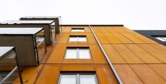 Fasaden till de nya bostäderna.
