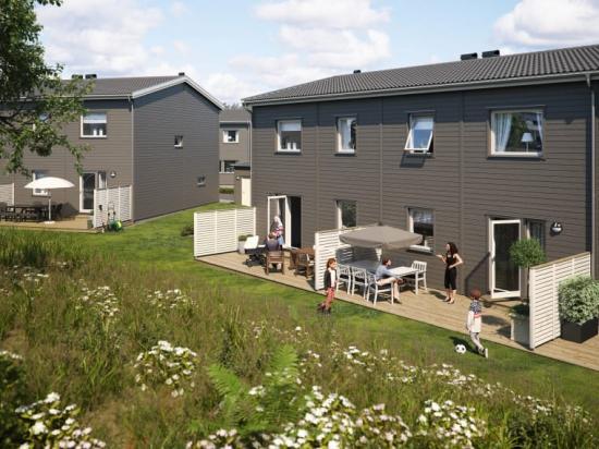 Illustration av trädgårdssida med altaner, BoKlok Marielundsgården i Mariefred.