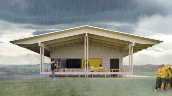 Taket går ut från klubbhuset och skapar ett skydd under regniga dagar (bilden är en illustration).