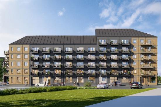 Såväl hyresrätter som bostadsrätter i olika storlekarkommer rymmas i bostadskvarteret, somutgör det sista kvarteret av totalt tre som Sverigehuset uppför i stadsdelen(bilden är en illustration).