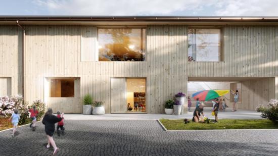 Illustration av den nya förskolan som ska byggas i Vigelsjö.