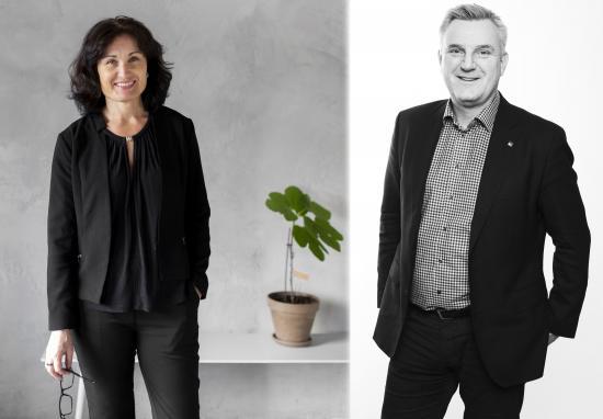 Till höger är Anna Glimdén, somtillträder som ny HR-chef och tar plats i ledningsgruppen. Till vänster står Stefan Indahl, VD, Aarsleff Rörteknik.