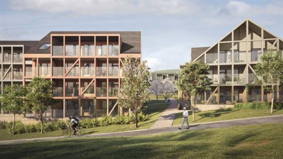 Visionsbild över Klemskvarteret som ska byggas i Kongsberg (bilden är en illustration).
