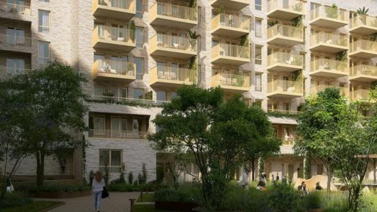 Visionsbild över Lørens nya flerfamiljshus (bilden är en illustration).