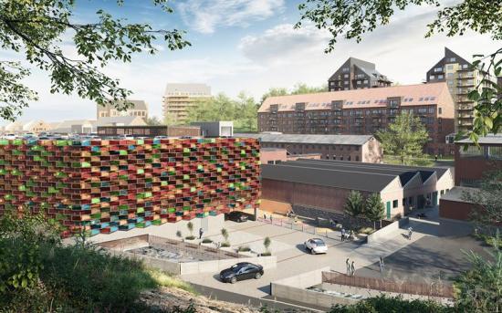 Visionsbild över garaget i Mölnlycke Fabriker (bilden är en illustration).