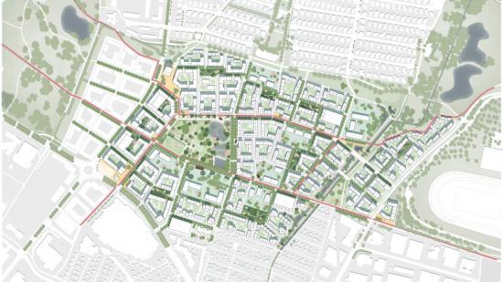 Den nya stadsdelen knyts närmare omkringliggande områden med starka stråk och mycket grönska.