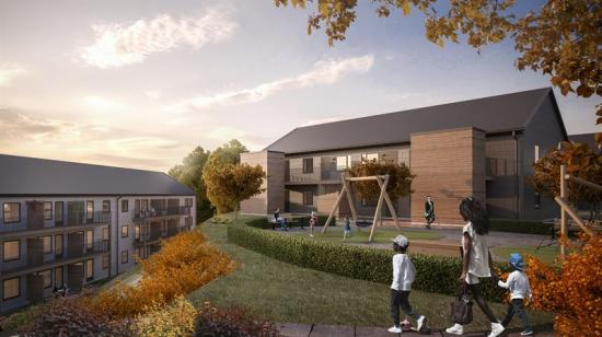 Brf Bergsjöbyn omfattar sju stycken huskroppar i två och tre våningar som kommer ge rum till 64 stycken lägenheter.