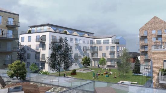 Tidig visionsskiss över det nya bostadskvarteret (bilden är en illustration).
