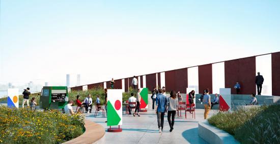 Kulbro i Aarhus hamn kommer att bli en unik blandning av ny infrastruktur och rekreativ stadsträdgård som skapar en plattform för stadsgemenskaper för idrott, kultur, lek och rekreation (bilden är en illustration).