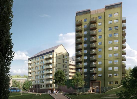 Kvarteret Terrassen med 165 hyresrätter på 1- 4 rum och kök är nu under byggnation i Kallebäcks Terrasser.