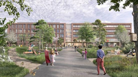 Visionsbild över det framtida högteknologiska Centralsjukhuset i Karlstad (vilden är en visionsbild).