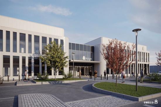 Visionsbild över den nya polisstationen som ska byggas i Umeå.