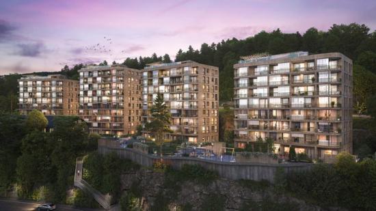 Fyrstikkbakken 14 i Oslo-stadsdelen Hellerud, FutureBuilts första kommersiella bostadsprojekt i massivt trä (bilden är en illustration).