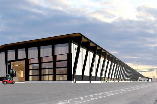 Konceptbild av Södras nya KL-träfabrik.