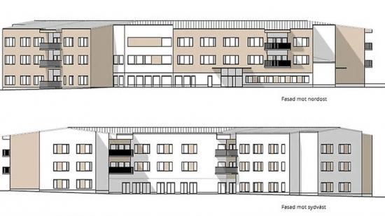 Skiss över fasaderna till Kooperativa hyresrättsföreningen (KHF) Hemstranden Haparanda.