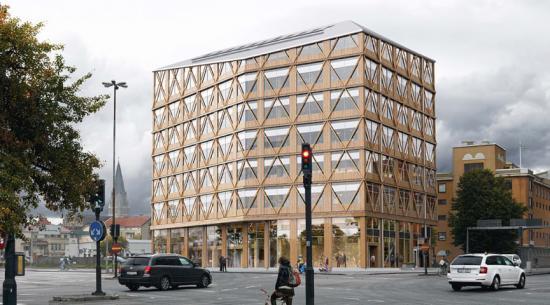 """Visionsbild över det kommande kontorshuset i pilotprojektet """"Vi ger arkitekten makten""""."""